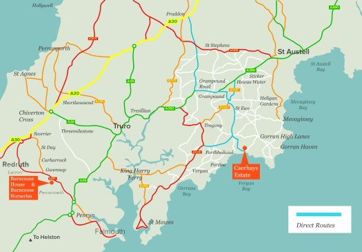 Click for larger map of route A30 to Caerhays Castle - opens new window