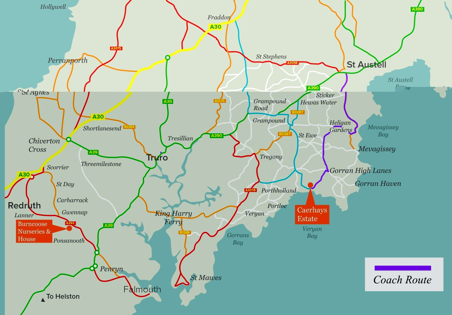 Click for larger map of coach route A30 to Caerhays Castle - opens new window