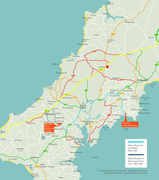 Cornwall map - Burncoose House.